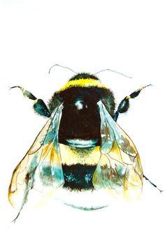 "Watercolor Painting, Bumble Bee, Original Painting, 11""x15"""