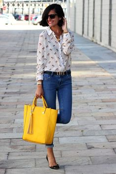 An ode to the sixties in peddle pusher high slim jeans and button down with  great c7a6096bb30