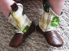 Baby Cowboy Boots John Deere and Leather by 2Fab on Etsy, $30.00