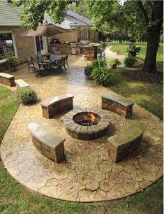 Backyard stone patio ideas - SHW Home Decor Hinterhof Stein Terrasse Ideen - SHW Home Decor Stone Patio Designs, Backyard Patio Designs, Backyard Landscaping, Patio Ideas, Landscaping Ideas, Backyard Ideas, Diy Patio, Terrace Ideas, Sloped Backyard