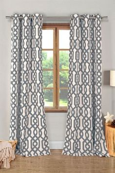 Ashmont Printed Textured Grommet Panel Curtains - Set of 2 - Grey