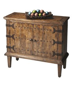 distressed wood with iron hardware console cabinet, a striking piece for your castle foyer