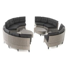 Best Selling Home Navarro 10 Piece Patio Wicker Sofa Set with Water Resistant Fabric Cushions - 299615