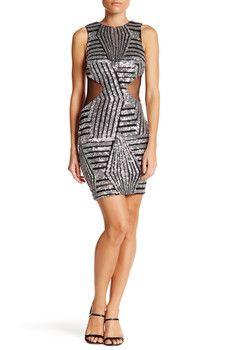 Dress the Population Blake Cutout Sequin Bodycon Dress