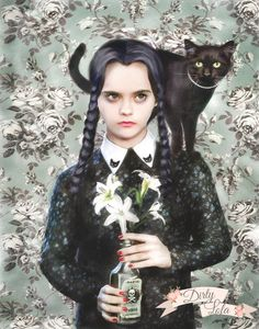 On Wednesdays we wear black...and cats! Print Details: Available in 8x10, 11x14, or 16x20 inches. This is a high quality art print of my original