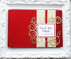 Red and Gold Wedding Guest Book with Swirl Embellishments (made to order)