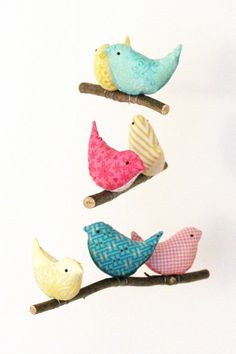 Nursery Bird Mobile - Baby Cot Decor - Handmade Birds in Teal Yellow Pink Fabric