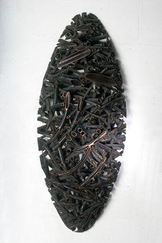 Jaehyo Lee - Title=0121-1110=199062 Material/ Copper Size/ 40x90x20cm Year/ 1999 Metal Sculpture Wall Art, Wall Sculptures, Land Art, Mixed Media Art, Still Life, Paper Art, Tables, Copper, Spirit