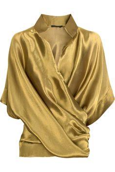 Donna Karan lame cross-front top: via Mrs. Lillien blog