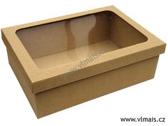 Krabice na víno papírové » Dárková papírová krabice na víno L s průhledným víkem | Obalové materiály pro výrobu, obchod a gastronomii