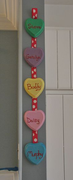 DIY Valentine's Day Decor - Conversation Hearts- Painted Wooden Hearts Personalized with Family's Names