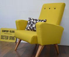 Fauteuil vintage 50 esprit scandinave jaune et gris
