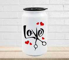 LOVE 18oz Stainless Steel Reusable Travel Cola Can - Hair Stylist Gift, Gift For Hair Dresser By UncleJesses Home & Living  Kitchen & Dining  Drink & Barware  Drinkware  Mugs  drink more water  stop drop and chug  funny humor fitness  gym work out  gym rat  Barber Gift  Beautician  Hair On Fleek  I will cut you Coffee Mug Alternative