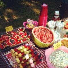 Backyard picnic table.