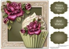 Antique Roses Cupcake 8x8 Quick Topper on Craftsuprint - View Now!