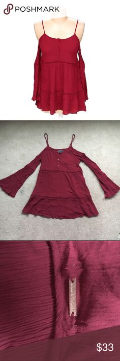 Kendall and Kylie maroon cold shoulder blouse Perfect condition! 13.5 inch bust and 27.5 inch length. Bought from pacsun Kendall & Kylie Tops Blouses