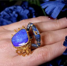Lydia Courteille: queen of the desert Lydia Courteille Sahara crab ring with a Boulder opal Gypsy Jewelry, Opal Jewelry, Sea Glass Jewelry, Jewelry Findings, Gold Jewelry, Bullet Jewelry, Gothic Jewelry, Jewelry Rings, Jewlery