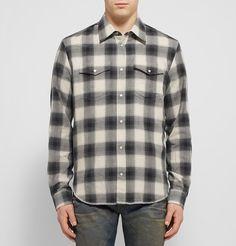 c3bca69a9e9f MAISON MARGIELA Checked Cotton-Flannel Shirt €285 Chemises Casuelles Pour  Hommes, Rues De