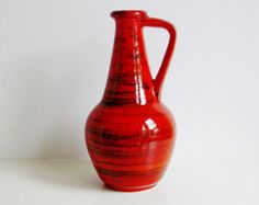 Behandelt Mitte Jahrhundert Bay Keramik Keramik Vase Westdeutschland WGP