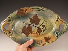 Serving Dish unique oval in Green Leaf Pattern by PotsbydePerrot