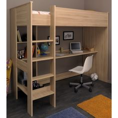 This is exactly what i'm going for. High bed with the ladder on the left, coming straight down and no shelf partitioning.