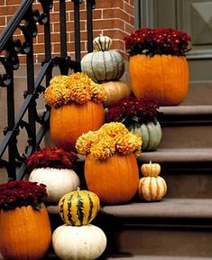 Pumpkin Flower Pots--Would put these on Slices of Tree (Tree Chargers!) to protect the porch