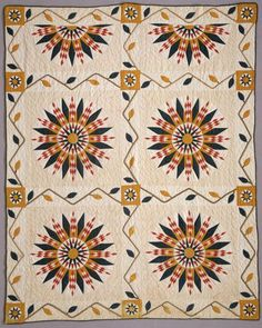 c. 1885:  Mariner's Compass Variation quilt, 62″ x 78″, Sally Beaird Lewellin, Briscoe Center for American History, University of Texas at Austin, via The Quilt Index.  Posted by Mary Elizabeth Kinch.