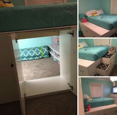 Use kitchen cabinets to loft bed, but keep the back out of one of them so you…