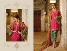 Pakistani Tulip Shalwar with Kurta Dress by Maria. B - C 1118 Pakistani Party Wear Dresses, Beautiful Pakistani Dresses, Eid Dresses, Pakistani Dress Design, Pakistani Designers, Dresses Online, Chiffon Dresses, Designer Party Dresses, Clothes For Women
