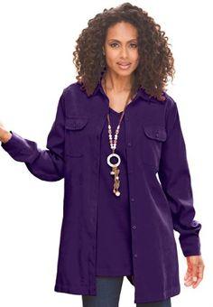 Roamans Plus Size Stretch Moleskin Bigshirt Stylish Plus Size Clothing, Plus Size Outfits, Plus Size Fashion, Curvy Women Fashion, Womens Fashion, Fashion Over 40, Look Cool, Clothing Patterns, Clothing Ideas