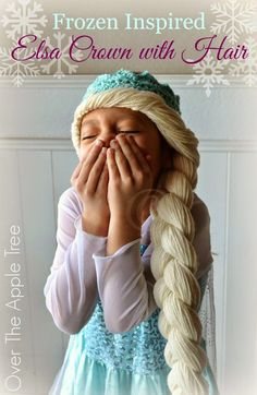 "Terrific Photos elsa Crochet Hat Concepts > Over The Apple Tree""> Crochet Elsa Crown With Hair, free pattern >> Over The Apple Tree Frozen Crochet Hat, Crochet Disney, Crochet Beanie, Knitted Hats, Crochet Girls, Crochet For Kids, Crochet Baby, Hair Yarn, Yarn Wig"