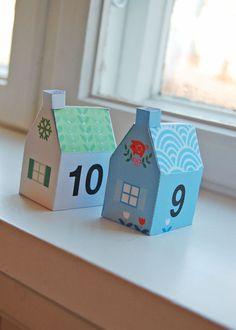 little houses- Advent calendar Christmas Activities, Christmas Printables, Christmas Projects, Advent House, 1 Advent, Advent Calenders, Navidad Diy, 242, Noel Christmas