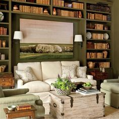 HHD: furniture placement ideas, love book shelves but would cramp the room with other existing built-ins.