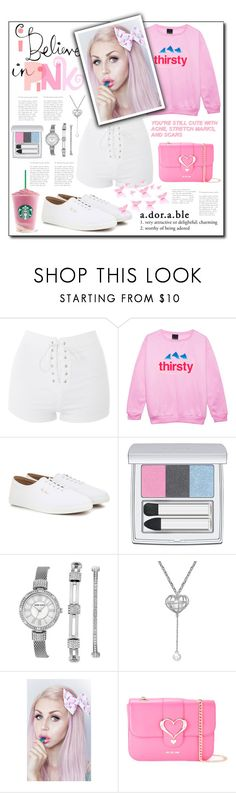 """""""Just So Adorable"""" by samella-walters ❤ liked on Polyvore featuring Topshop, The Row, RMK, Anne Klein, Lulu in the Sky and Love Moschino"""