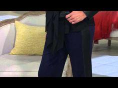 George Simonton Petite Ponte Pull-On Pants w/ Faux Leather Tuxedo Stripe...