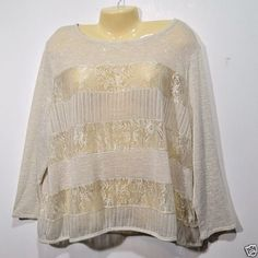 Ivory-Lace-Top-Sheer-CATO-Woman-Size-22-24W-Long-Sleeves-Blouse-Cover-NWOT-Beach