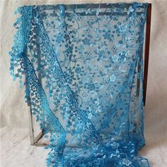 Fashion Flower Embroidery Sheer Lace Triangle Scarf With Funky Paillette Women Neck Sequins Scarves Triangle Floral Scarve J049