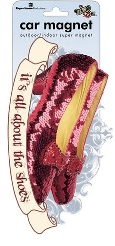 Dorothy's Ruby Slippers from the movie, The Wizard of Oz, made into a magnet for use inside or out and it's weather-resistant too! Shop Paper House for everything Oz. It's all about the shoes!