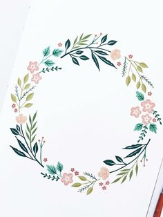 Blumenkranz diy tattoo images - tattoo images drawings - tattoo images women - tattoo i Diy Tattoo, Watercolor Flowers, Watercolor Art, Floral Wreath Watercolor, Embroidery Patterns, Hand Embroidery, Geometric Tatto, Wreath Drawing, Floral Illustrations