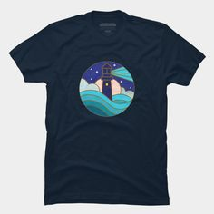 Lighthouse, Night, Blue, Ocean, Full Moon, Stars, Sea