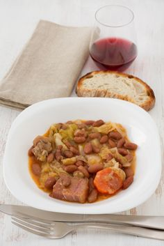 #Portuguese Feijoada bean stew, bread and wine. Simply mouthwatering!