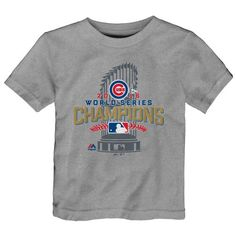 Chicago Cubs Majestic Toddler 2016 World Series Champions Locker Room T-Shirt - Heathered Gray - $13.49