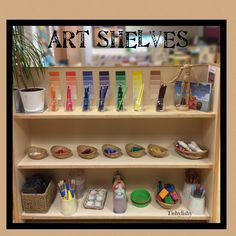 Art shelves in our FS2 classroom