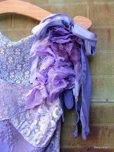 Violet and Purple Patchwork Lace Blouse
