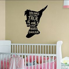 Peter Pan Dreams Do Come True If Only We Wish Hard Enough Vinyl Wall Words Decal Sticker Graphic Measures 22 x 30 inches as shown. Application instructions are included. Some decals may come in multip