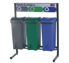 Punto verde de tres contenedores de reciclaje, cada uno de 53 litros de capacidad. Canning, Mugs, Recycling Bins, Outer Space, Green, Dots, Home Canning, Conservation