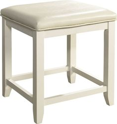 Beachcrest Home Manette Vanity Stool Color: White White Bar Stools, Small Stool, Vanity Set With Mirror, White Vanity, Vanity Stool, Traditional Design, Seat Cushions, Upholstery, Home Decor