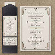 Art Deco Details - Pocket Invitation - Wedding Invitations - Wedding Invites - Wedding Invitation Ideas - View a Proof Online - #weddings #wedding #invitations