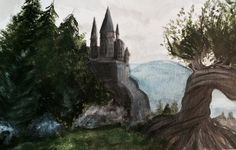 Harry Potter: Hogwarts and the Whomping Willow by Raven-Painter