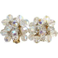 Juliana Clear Crystal Bead Rhinestone Clip Earrings DeLizza & Elster